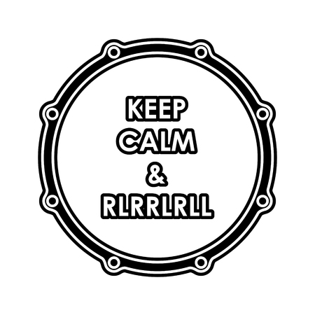 Snare drum with Keep calm and  rlrrlrll inscription.  Vector
