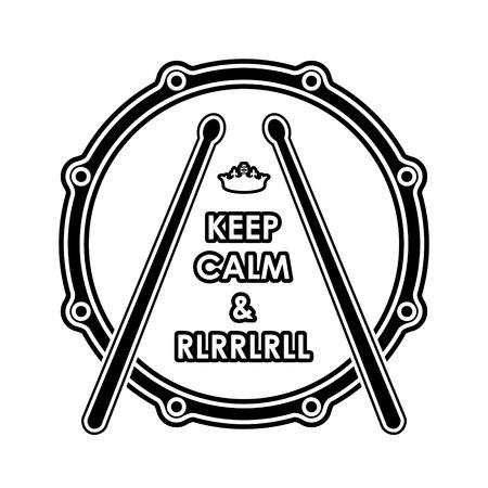 Snare drum met Keep calm en rlrrlrll inscriptie.