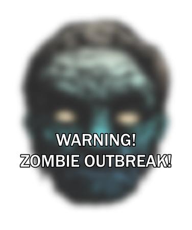 madman: Poster Outbreak Zombie. La cara del zombi. Ilustraci�n vectorial