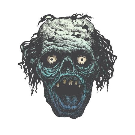 maniaco: Poster Zombie Outbreak. Zombie faccia. Illustrazione vettoriale