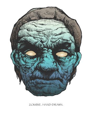 zombie head  hand drawn  Illustration