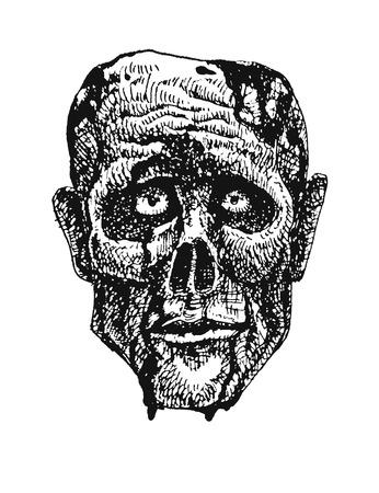 madman: dibujado mano cabeza zombie