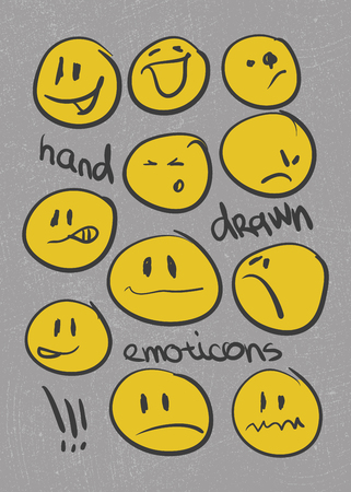 emoticons.  hand drawn.  Vector