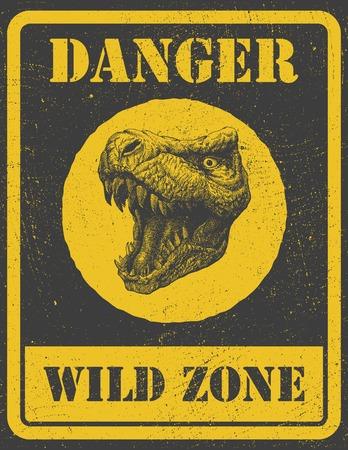 beware: warning sign. danger signal with dinosaur. vector eps 8
