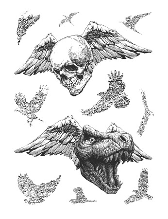 trex: design elements for Halloween. hand drawn. Illustration
