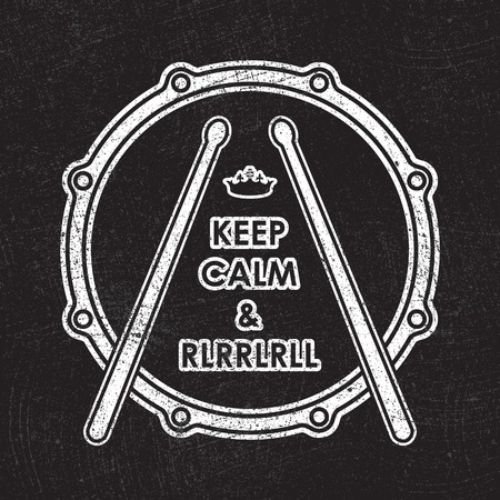 keep calm and carry on: Snare drum with Keep calm and rlrrlrll inscription.  Illustration