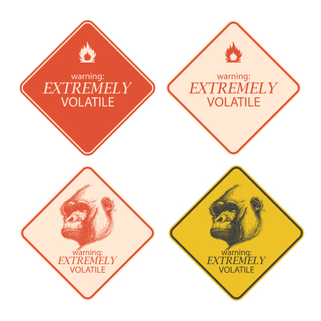 extremely: Yellow warning and danger signs collection eps 8
