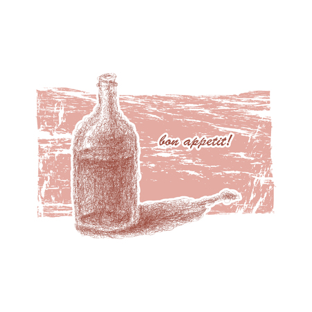 wineyard: Bottle of wine. Hand-drawn.
