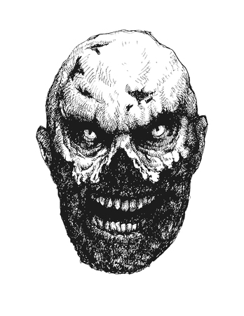 madman: Zombie. Hand drawn. Vector illustration eps 8