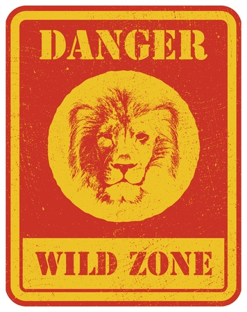 danger zone: warning sign. danger signal with lion head