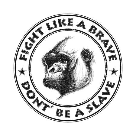 mandrill: Ape testa logo in bianco e nero. Illustrazione vettoriale