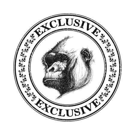 mandrill: Ape icona testa in bianco e nero. Illustrazione vettoriale