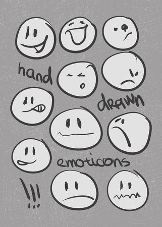 cara sonriente: Conjunto de emoticons dibujados a mano. Vectores