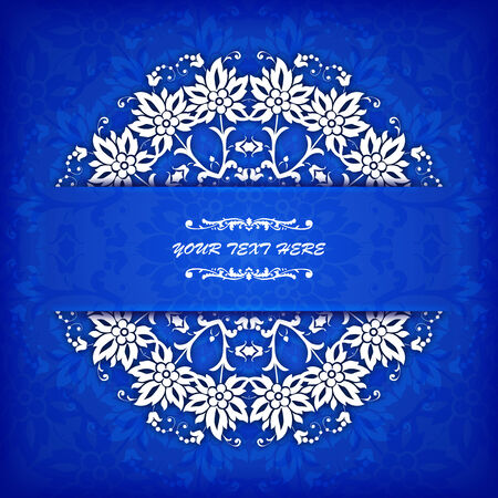 royal blue background: Abstract vector circle floral ornamental border. Vector ornamental border frame. Can be used for banner, web design, wedding cards and others Illustration