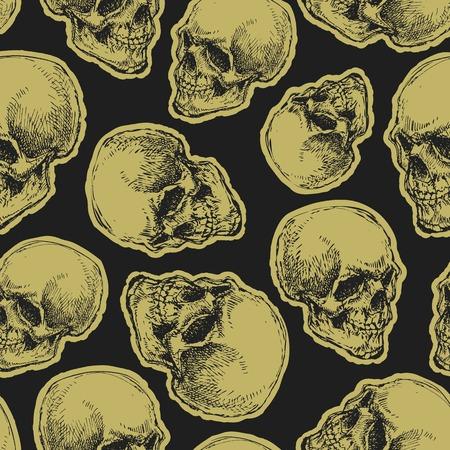 glum: vector seamless pattern with skulls and bones on dark background Illustration