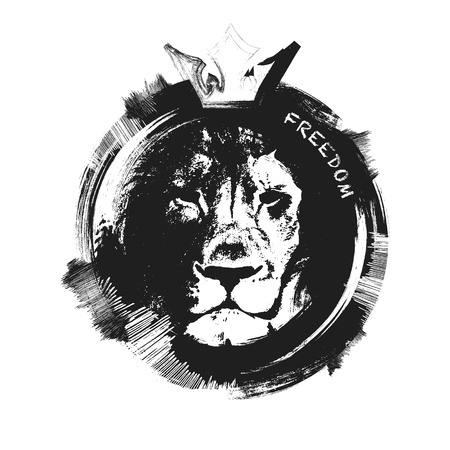 lion head. hand drawn. Grunge vector illustration Vettoriali