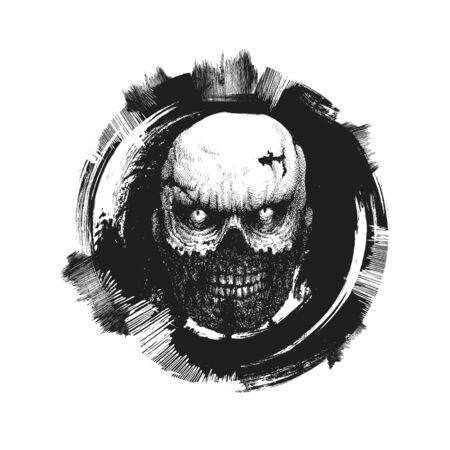 tattoo face: design element for halloween. hand drawn. vector illustration
