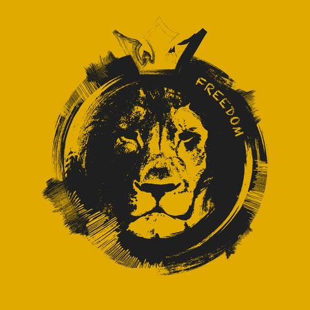 cabello negro: cabeza de león. dibujado a mano. Grunge ilustración vectorial