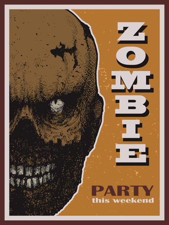 Vector Halloween zombie party banner. Vector illustration. Vector
