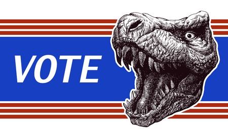 votes: Poster illustration of votes of the United States of America with trex head. vector illustration.