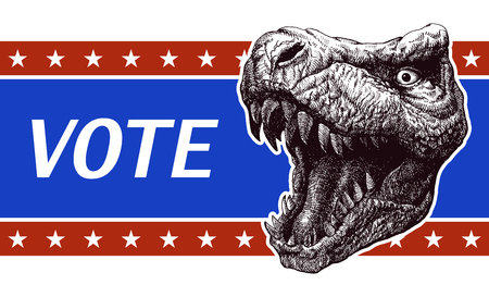 presidency: Poster illustration of votes of the United States of America with trex head. vector illustration.