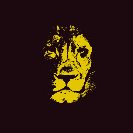 lion head. hand drawn. Grunge vector illustration Ilustrace