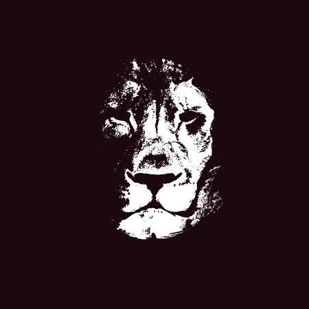 Cabeza de león. dibujado a mano. Grunge ilustración vectorial Foto de archivo - 37720574