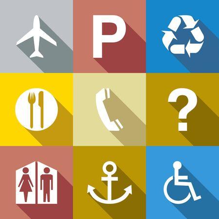 parking disk: flat icon set. vector illustration