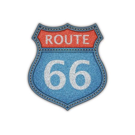 66: Route 66 Road Denim Sign.Vector Illustration Illustration