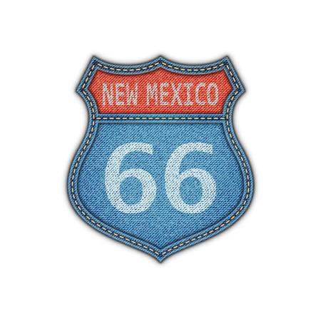 route 66: Route 66 Road Denim Sign.Vector Illustration Illustration