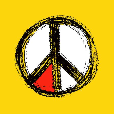 pacifist: Peace symbol drawing. vector in yellow style Illustration