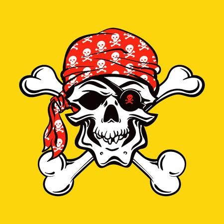 calavera pirata: Cráneo del pirata en fondo amarillo. ilustración vectorial