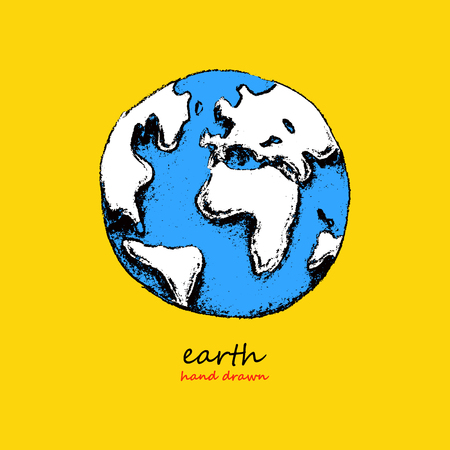 earth in hand: Earth. Hand drawn vector illustration