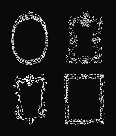 detailed: Hand drawn frames. Vector illustration