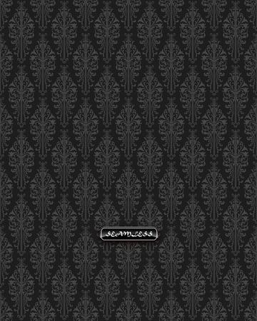 black damask: Black damask vintage floral pattern, vector illustration. Illustration