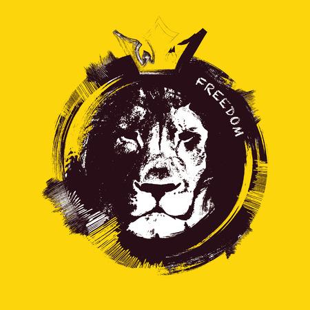 Leeuwenkop op gele achtergrond. Hand getekend. vector illustratie.