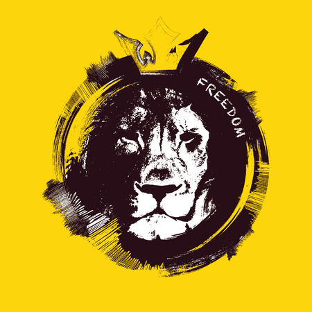 black and white line drawing: Lion head on yellow background. Hand drawn. vector illustration.