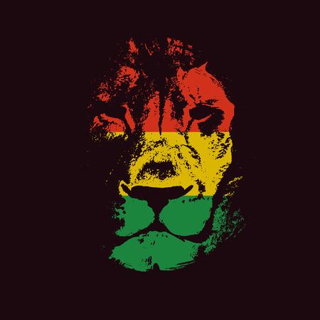 reggae: Lion tête tirée par la main. Vecteur de fond. Vector illustration
