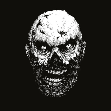 madman: dibujado a mano la cabeza zombi. ilustraci�n vectorial