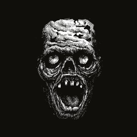 dibujado a mano la cabeza zombi. ilustración vectorial