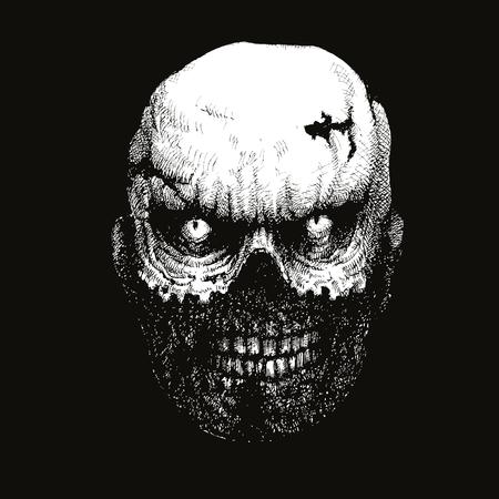 zombie head hand drawn. vector illustration Illustration