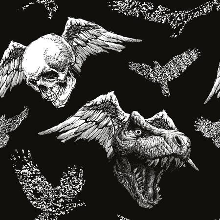 trex: Trex Dinosaur halloween background. Vector seamless background. Illustration