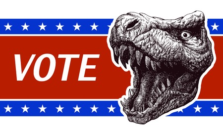 presidential election: Be responsible - Presidential Election Poster with trex head. Vector illustration