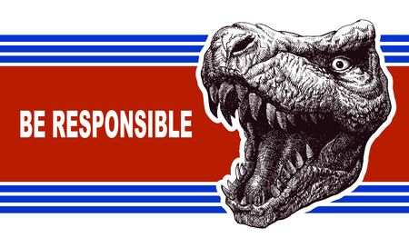 nomination: Be responsible - Presidential Election Poster with trex head. Vector illustration