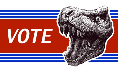 suffrage: Be responsible - Presidential Election Poster with trex head. Vector illustration