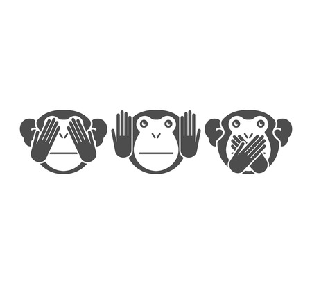 three persons: See no Evil, Hear no Evil, Speak no Evil.   Illustration