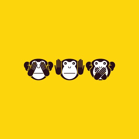 See no Evil, Hear no Evil, Speak no Evil. Vector illustration Çizim