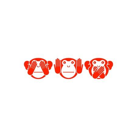 animal mouth: See no evil, hear no evil, speak no evil. Vector illustration.