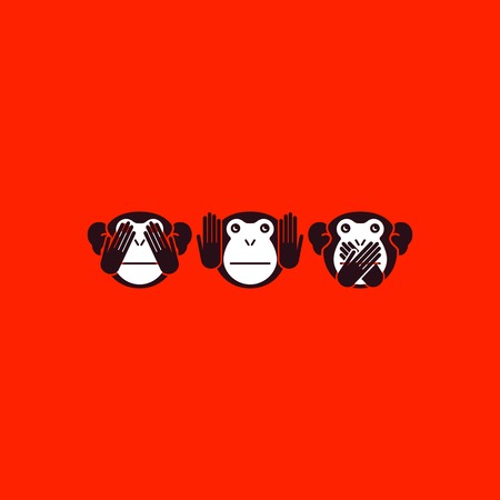 evil: See no evil, hear no evil, speak no evil. Vector illustration.