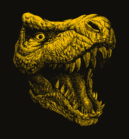 trex: Trex. Hand drawn. one compound path one color easy editable Illustration